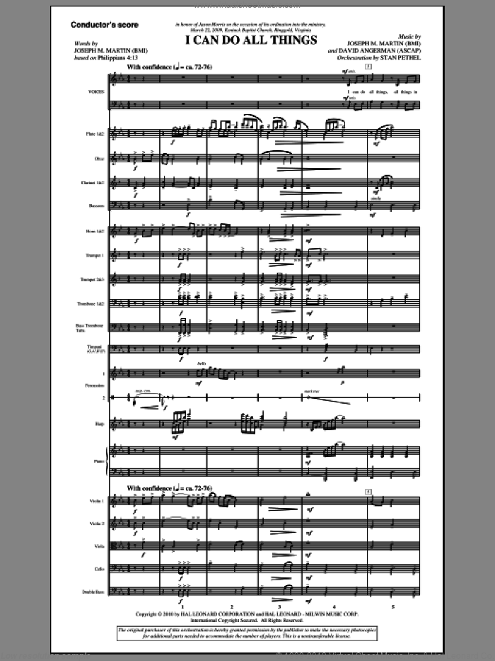 I Can Do All Things (COMPLETE) sheet music for orchestra/band (Orchestra) by Joseph M. Martin and David Angerman, intermediate orchestra. Score Image Preview.