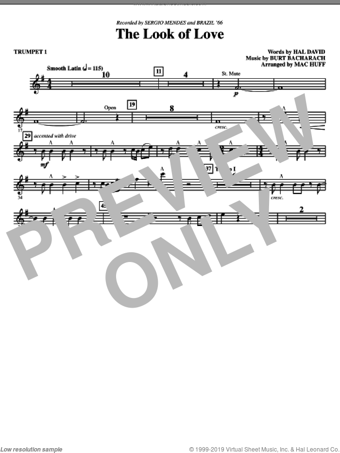 The Look Of Love (complete set of parts) sheet music for orchestra/band by Burt Bacharach, Hal David and Mac Huff, intermediate skill level
