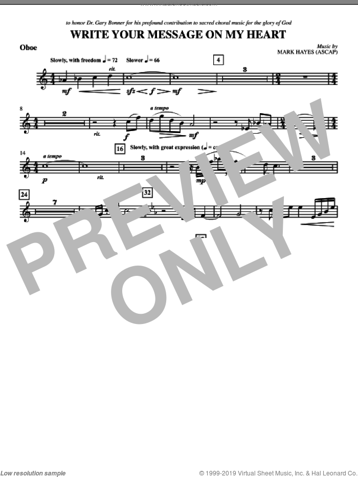 Write Your Message On My Heart sheet music for orchestra/band (oboe) by Mark Hayes