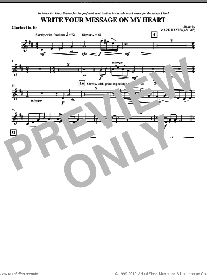Write Your Message On My Heart sheet music for orchestra/band (clarinet) by Mark Hayes