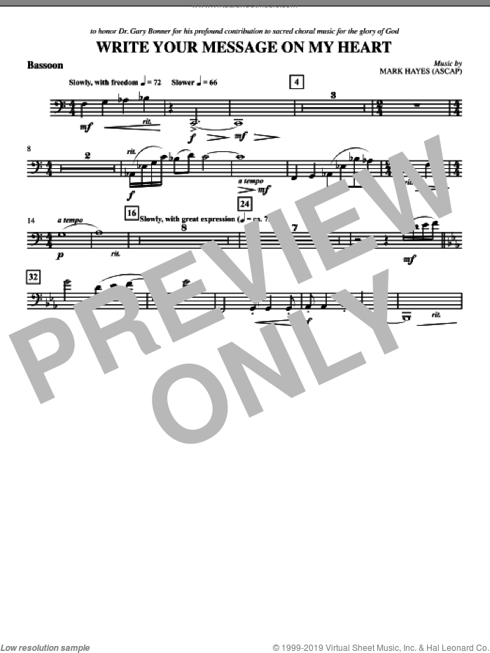 Write Your Message On My Heart sheet music for orchestra/band (bassoon) by Mark Hayes
