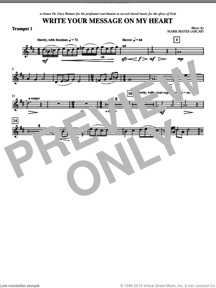 Write Your Message On My Heart sheet music for orchestra/band (Bb trumpet 1) by Mark Hayes