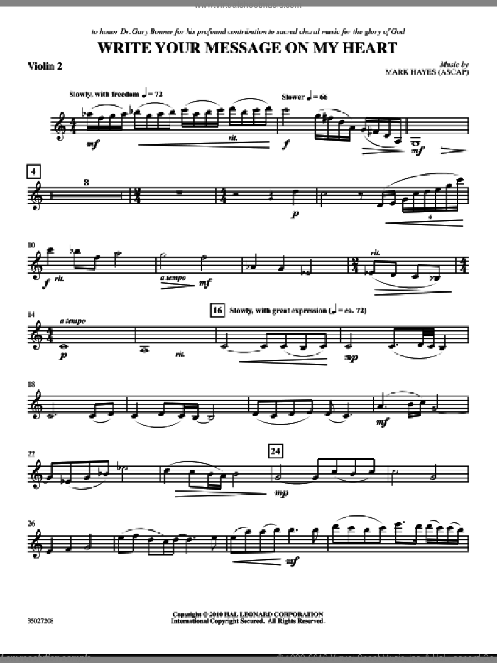 Write Your Message On My Heart sheet music for orchestra/band (violin 2) by Mark Hayes