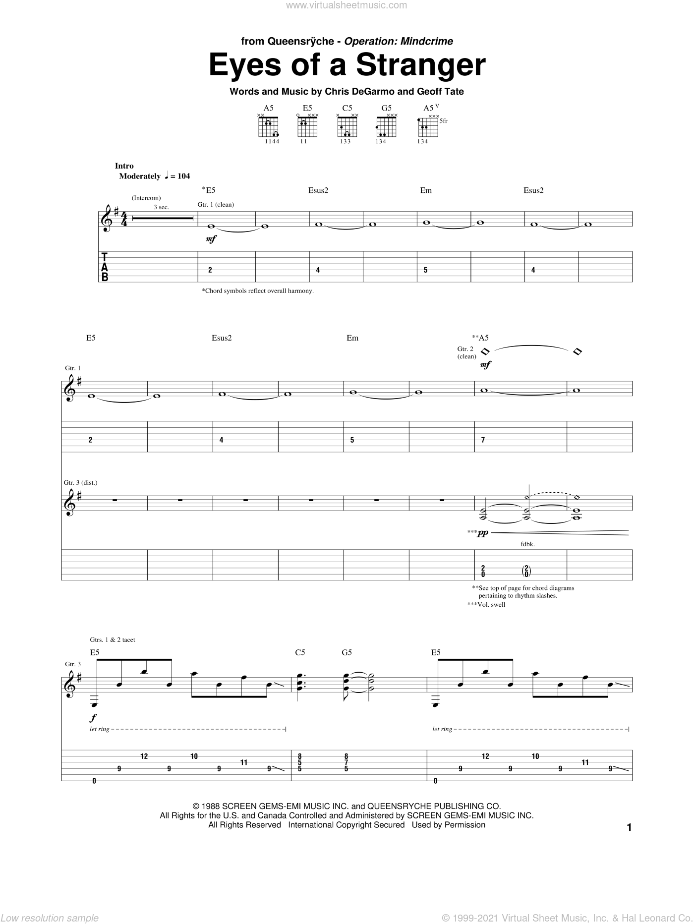 Eyes Of A Stranger sheet music for guitar (tablature) by Queensryche, Chris DeGarmo and Geoff Tate, intermediate. Score Image Preview.