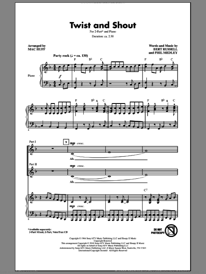 Twist And Shout sheet music for choir (2-Part) by Mac Huff, Bert Russell, Phil Medley, The Beatles and The Isley Brothers, intermediate duet