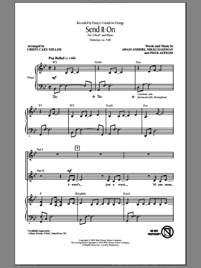 Send It On sheet music for choir and piano (duets) by Adam Anders, Cristi Cary Miller, Nikki Hassman and Peer Astrom