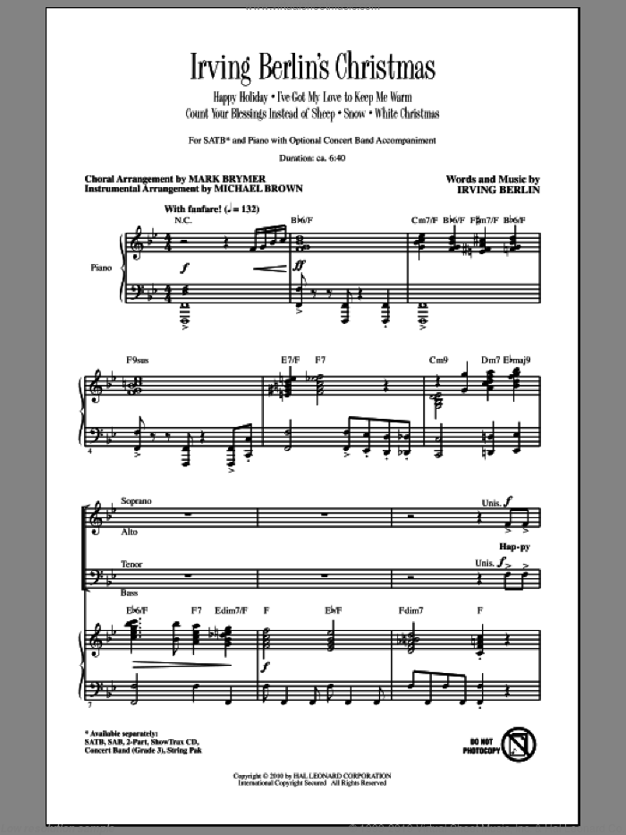 Irving Berlin's Christmas (Medley) sheet music for choir (SATB: soprano, alto, tenor, bass) by Irving Berlin, Mark Brymer and Michael Brown, intermediate skill level