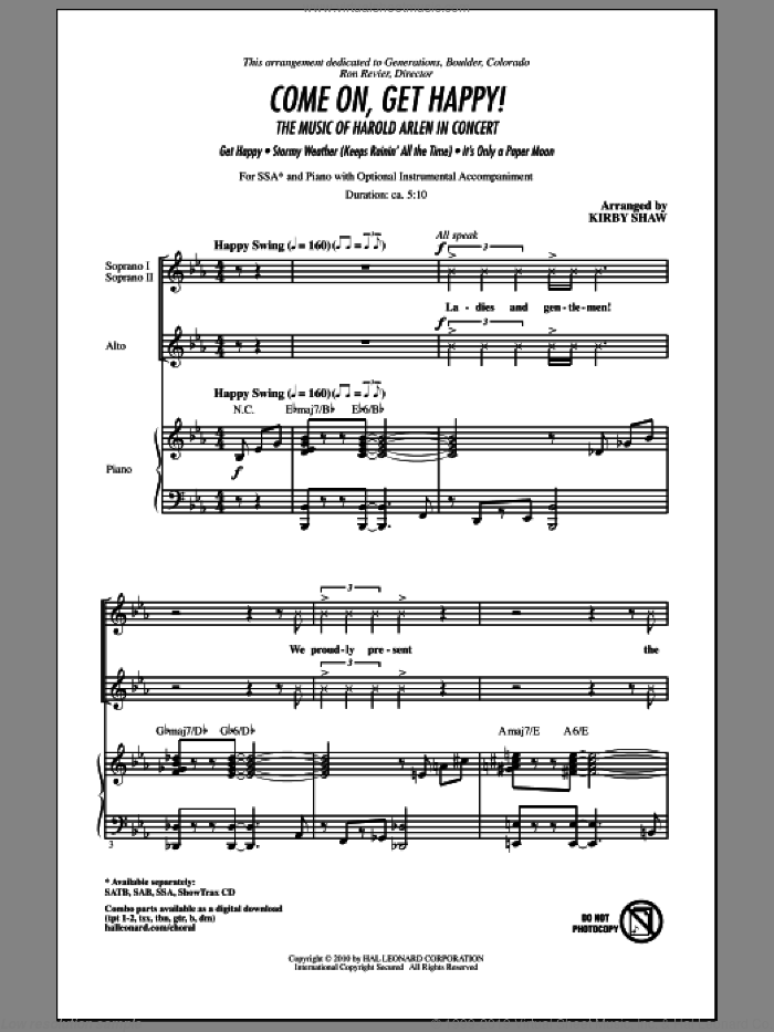 Come On, Get Happy! The Music Of Harold Arlen In Concert (Medley) sheet music for choir (SSA: soprano, alto) by Harold Arlen, Billy Rose, E.Y. Harburg, Kirby Shaw and Ted Koehler, intermediate skill level