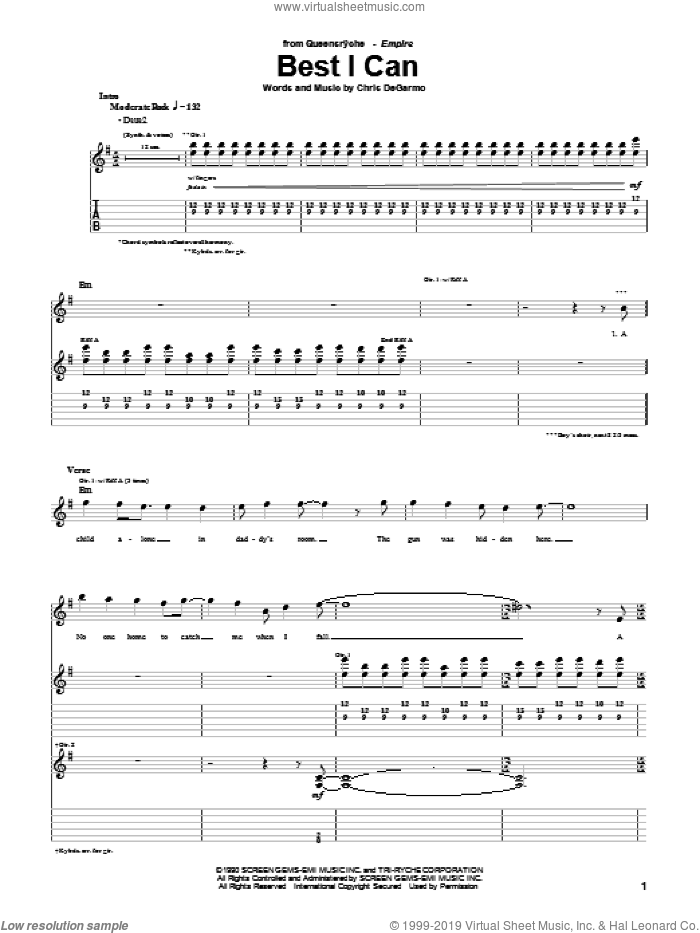 Best I Can sheet music for guitar (tablature) by Queensryche, intermediate. Score Image Preview.