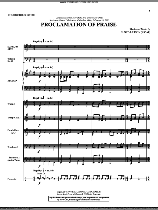 Proclamation Of Praise (COMPLETE) sheet music for orchestra by Lloyd Larson