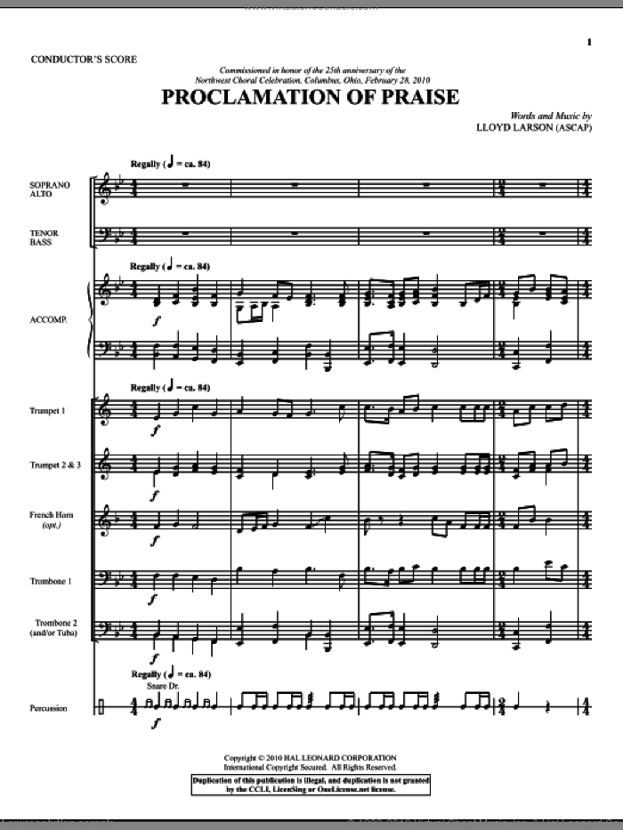 Proclamation Of Praise (COMPLETE) sheet music for orchestra/band (Brass) by Lloyd Larson, intermediate skill level