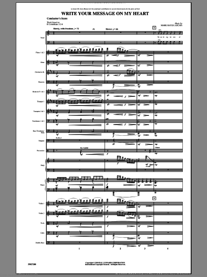 Write Your Message On My Heart (COMPLETE) sheet music for orchestra/band (Orchestra) by Mark Hayes, intermediate skill level