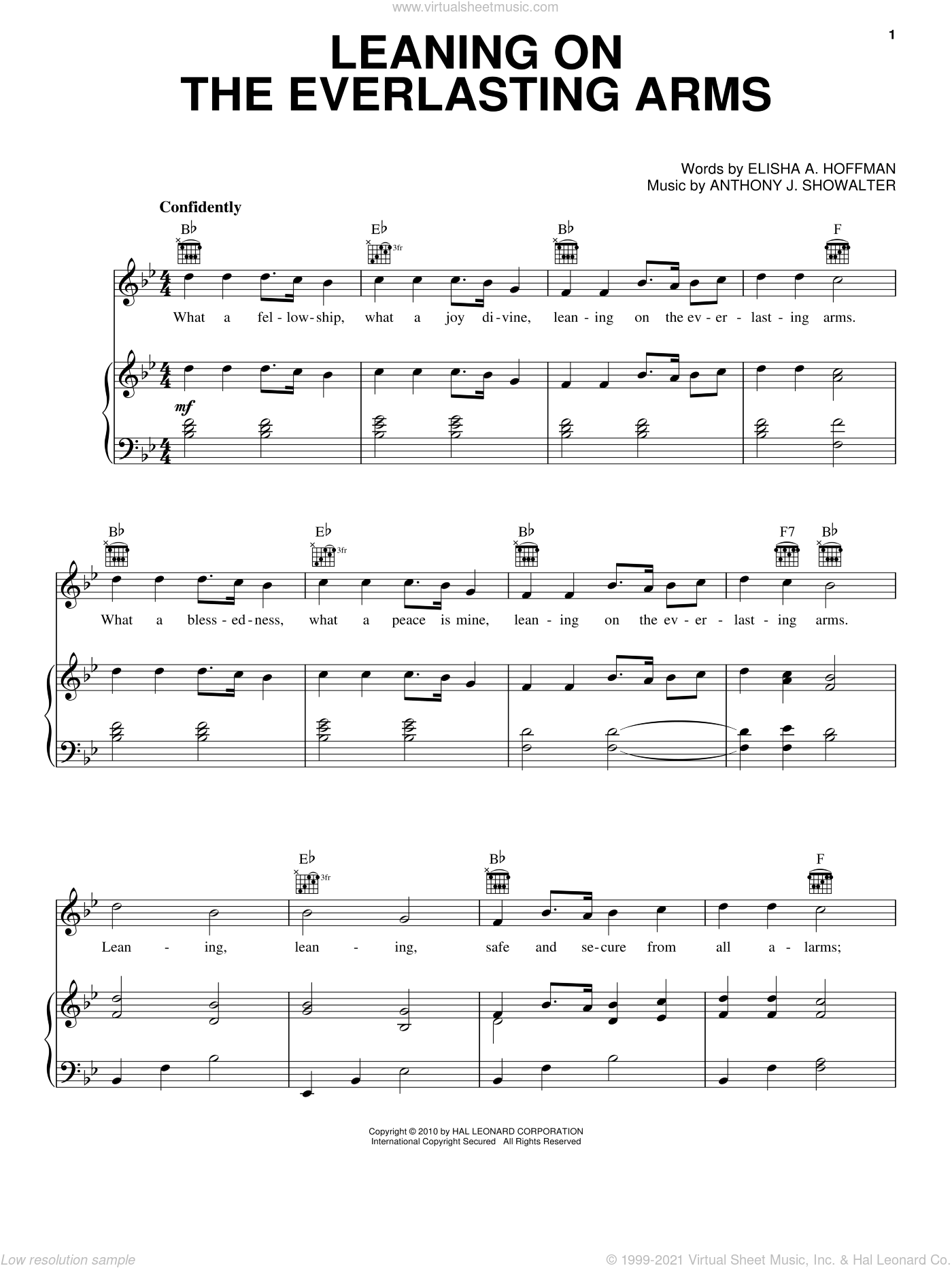 Leaning On The Everlasting Arms sheet music for voice, piano or guitar by Anthony J. Showalter and Elisha A. Hoffman. Score Image Preview.