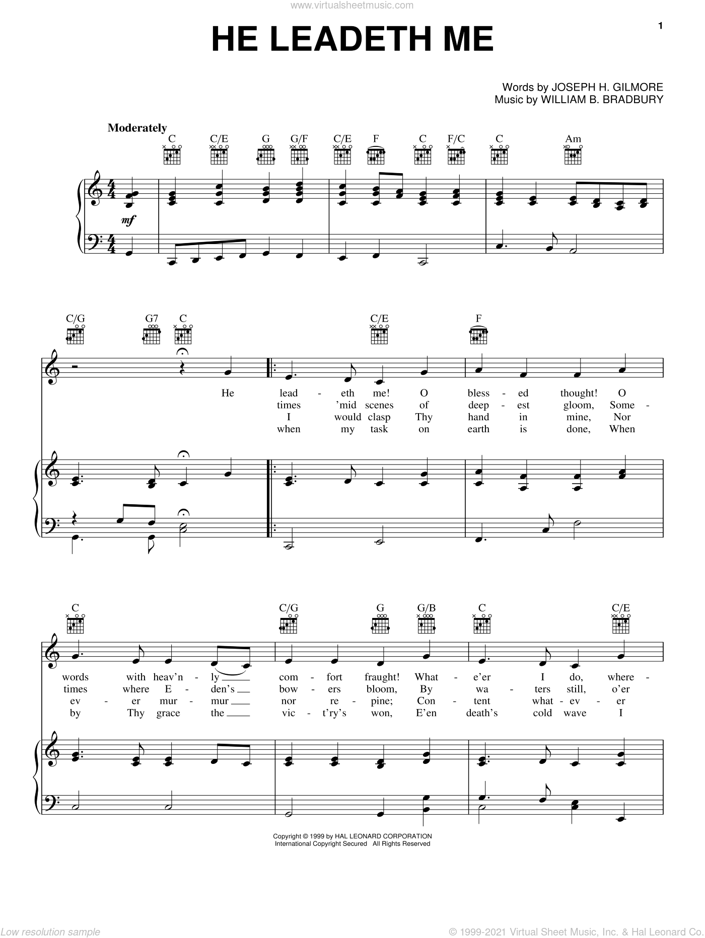 He Leadeth Me sheet music for voice, piano or guitar by William B. Bradbury and Joseph H. Gilmore, intermediate skill level