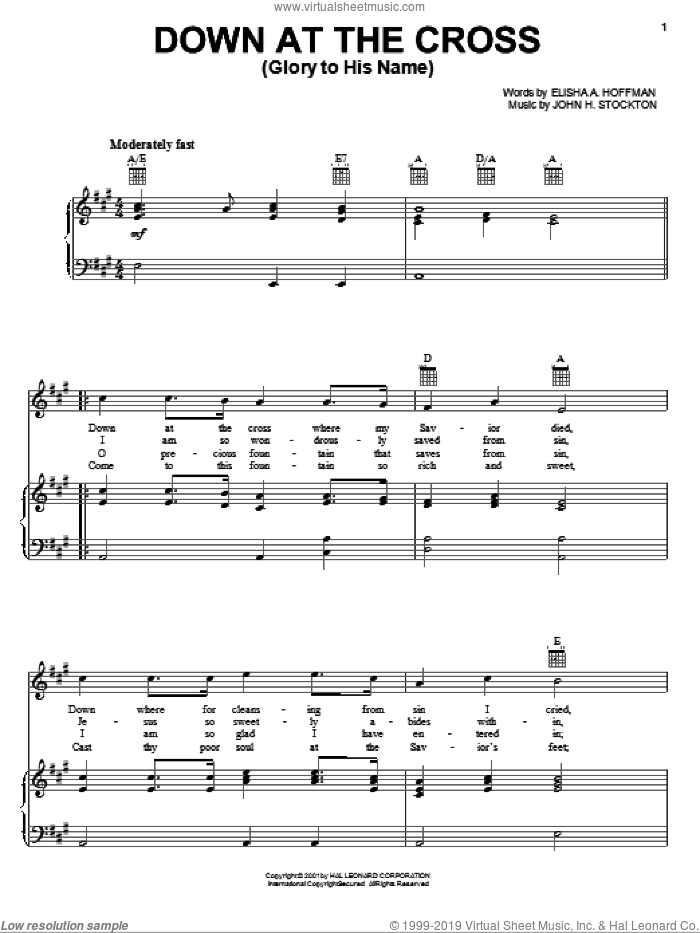 Down At The Cross (Glory To His Name) sheet music for voice, piano or guitar by John H. Stockton and Elisha A. Hoffman. Score Image Preview.
