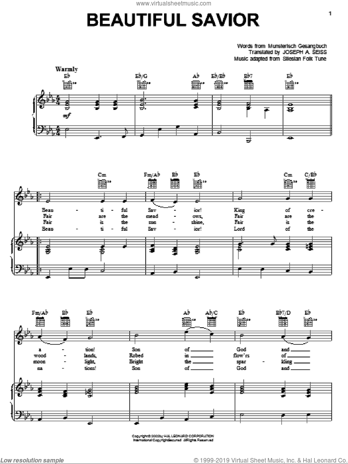 Beautiful Savior sheet music for voice, piano or guitar by Musterisch Gesangbuch and Joseph August Seiss, intermediate. Score Image Preview.
