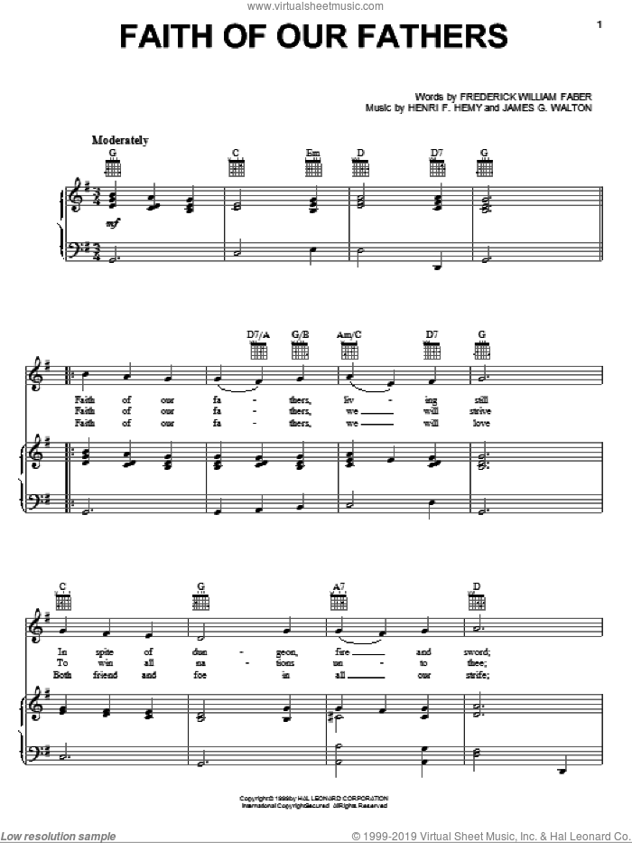 Faith Of Our Fathers sheet music for voice, piano or guitar by Frederick William Faber, Henri F. Hemy and James G. Walton, intermediate skill level