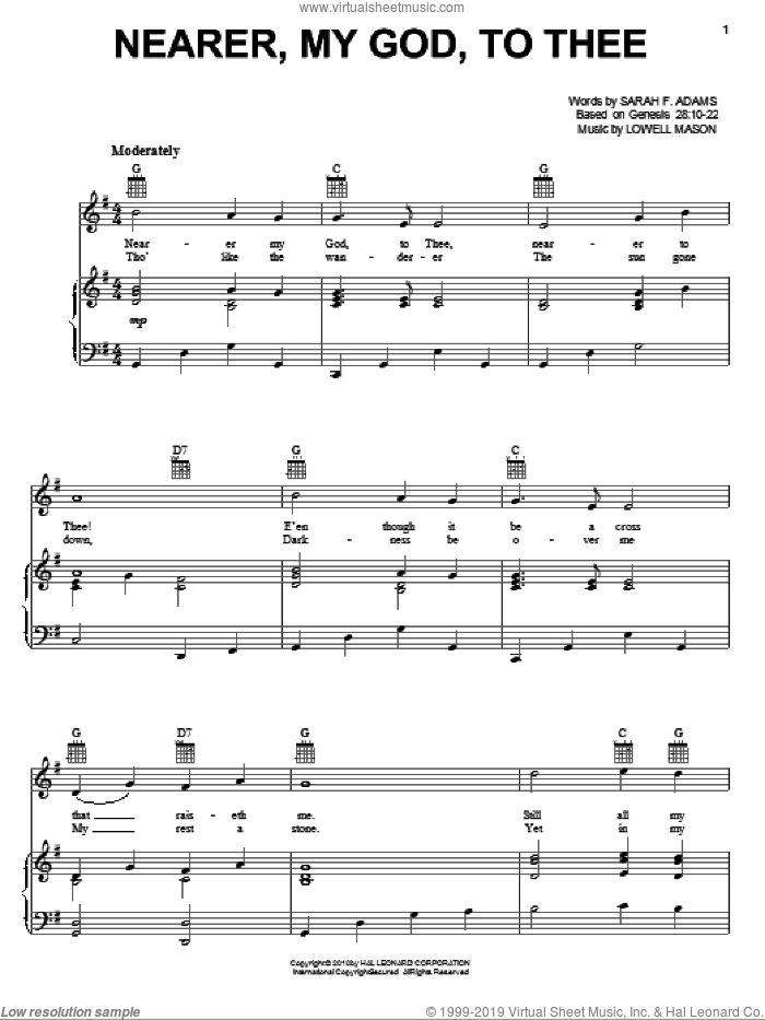 Nearer, My God, To Thee sheet music for voice, piano or guitar by Sarah F. Adams and Lowell Mason, intermediate skill level