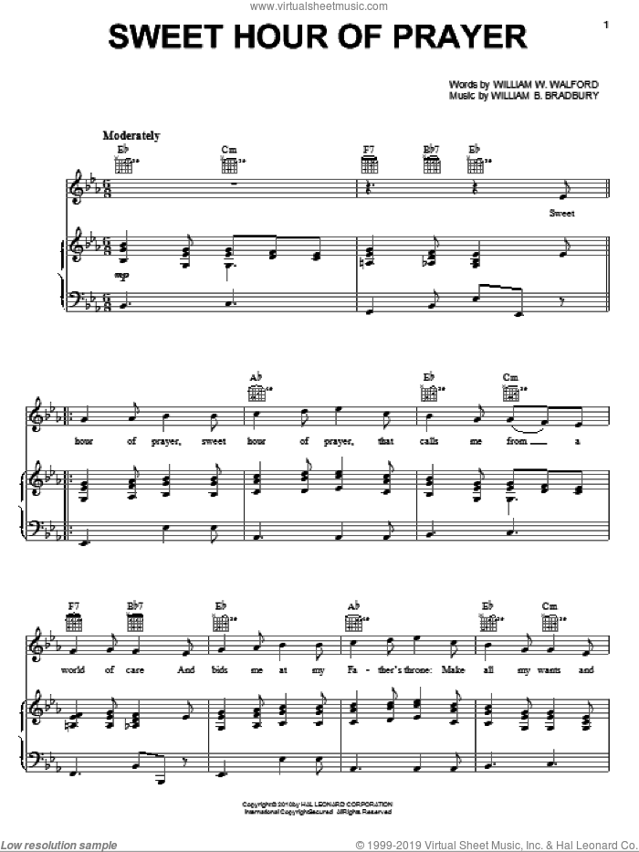 Sweet Hour Of Prayer sheet music for voice, piano or guitar by William W. Walford and William B. Bradbury, intermediate voice, piano or guitar. Score Image Preview.
