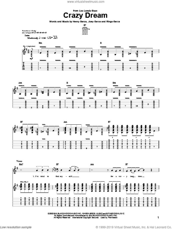 Crazy Dream sheet music for guitar (tablature) by Los Lonely Boys, Henry Garza, Joey Garza and Ringo Garza, intermediate skill level
