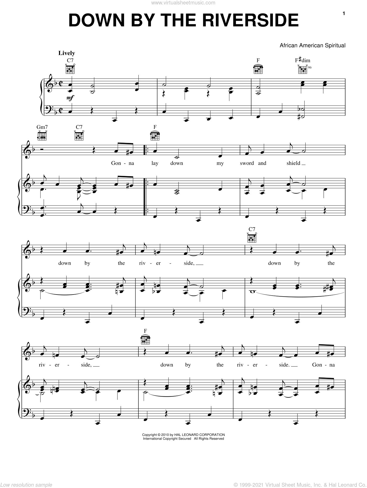 Down By The Riverside sheet music for voice, piano or guitar. Score Image Preview.