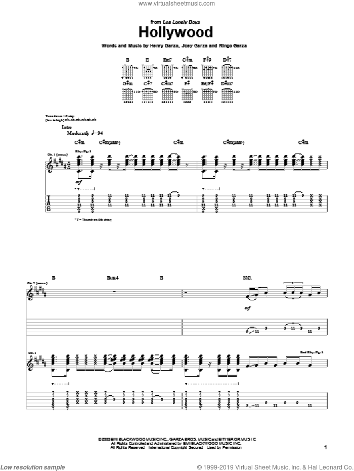 Hollywood sheet music for guitar (tablature) by Ringo Garza and Los Lonely Boys. Score Image Preview.