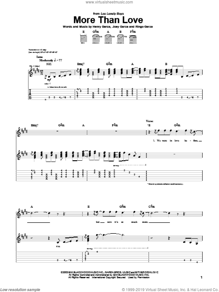 More Than Love sheet music for guitar (tablature) by Los Lonely Boys, Henry Garza, Joey Garza and Ringo Garza, intermediate. Score Image Preview.