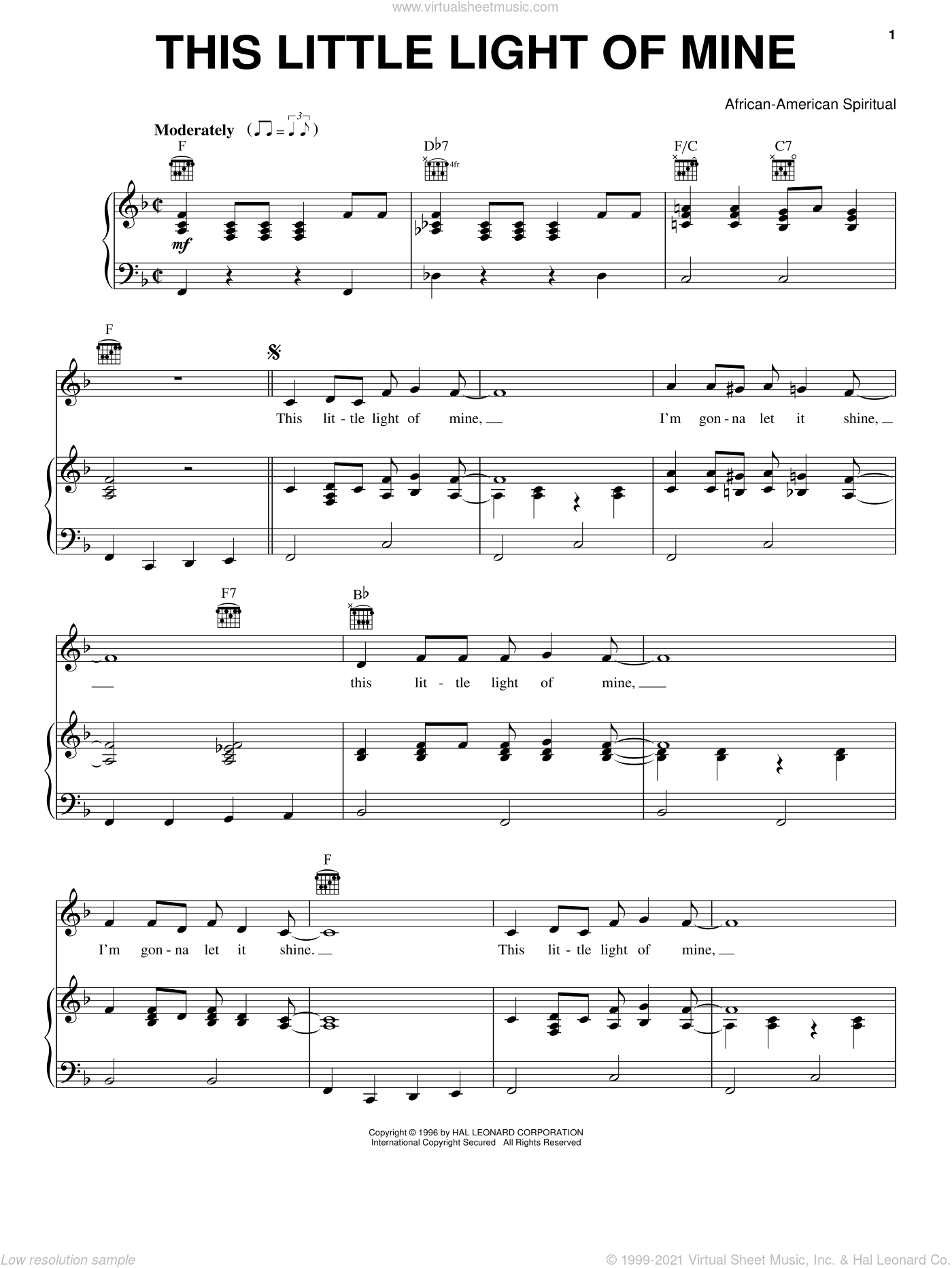 This Little Light Of Mine sheet music for voice, piano or guitar, intermediate. Score Image Preview.