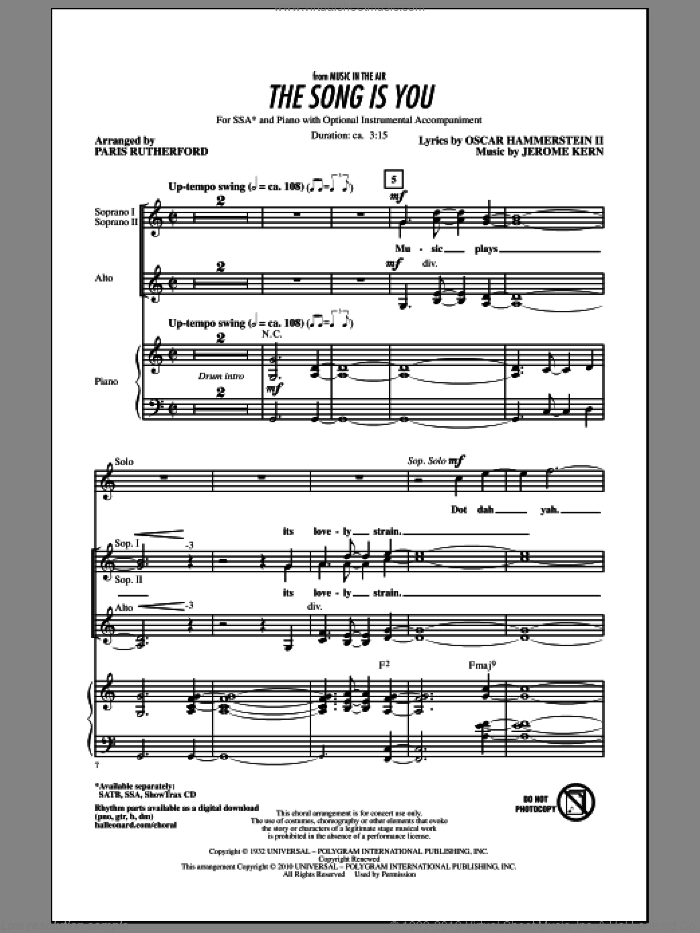 The Song Is You sheet music for choir (soprano voice, alto voice, choir) by Oscar II Hammerstein, Jerome Kern and Paris Rutherford. Score Image Preview.