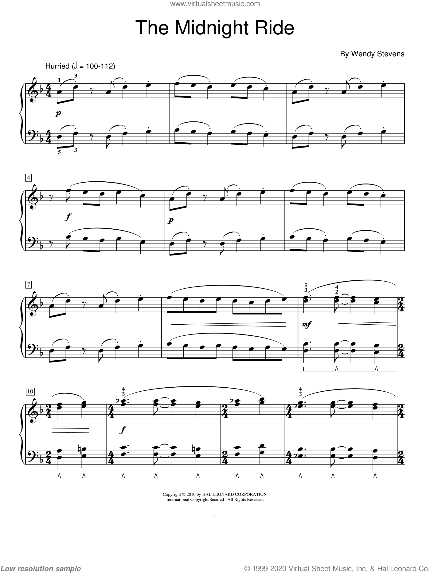 The Midnight Ride sheet music for piano solo (elementary) by Wendy Stevens and Miscellaneous, beginner piano (elementary). Score Image Preview.