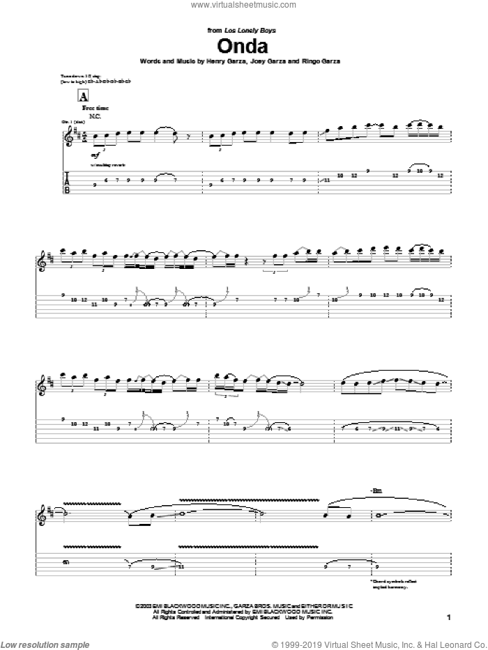 Onda sheet music for guitar (tablature) by Los Lonely Boys, intermediate. Score Image Preview.