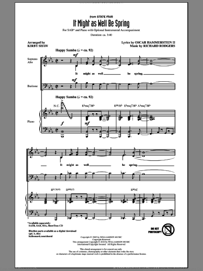 It Might As Well Be Spring sheet music for choir and piano (SAB) by Oscar II Hammerstein, Kirby Shaw and Richard Rodgers. Score Image Preview.