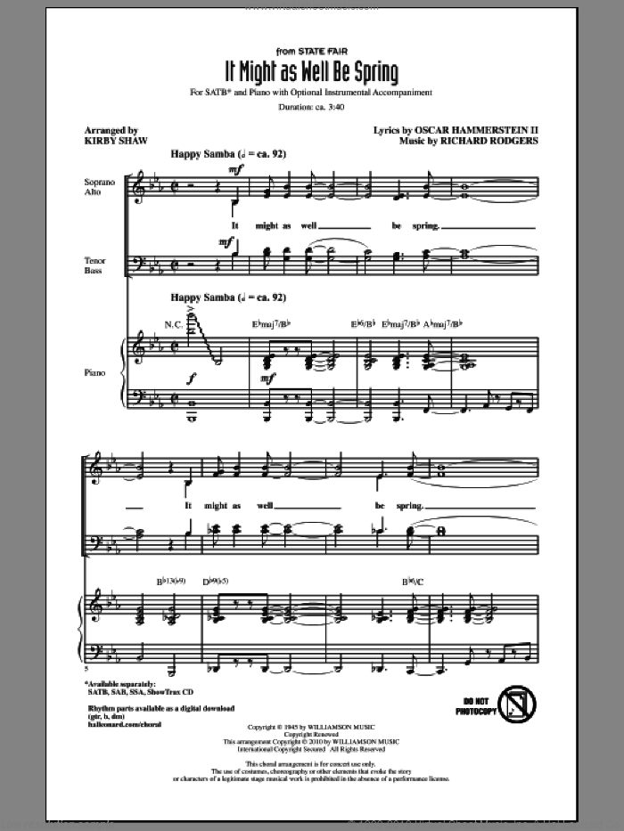 It Might As Well Be Spring sheet music for choir and piano (SATB) by Oscar II Hammerstein, Kirby Shaw and Richard Rodgers. Score Image Preview.