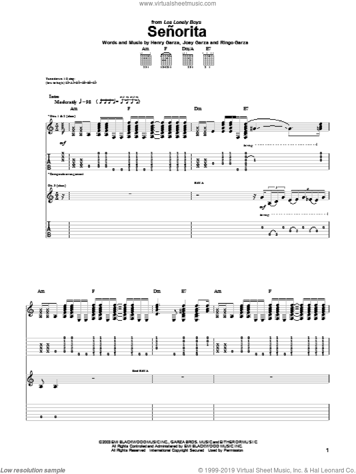 Senorita sheet music for guitar (tablature) by Ringo Garza and Los Lonely Boys. Score Image Preview.
