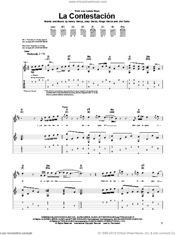 La Contestacion sheet music for guitar (tablature) by Ringo Garza and Los Lonely Boys. Score Image Preview.