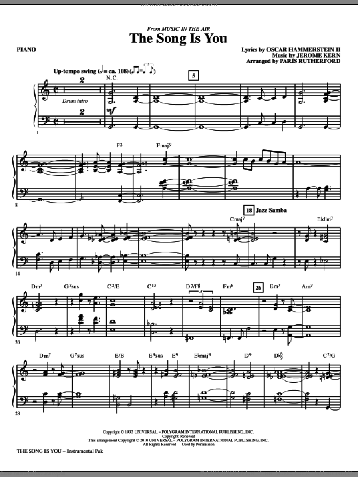 The Song Is You (complete set of parts) sheet music for orchestra/band (Rhythm) by Oscar II Hammerstein, Jerome Kern and Paris Rutherford, intermediate skill level