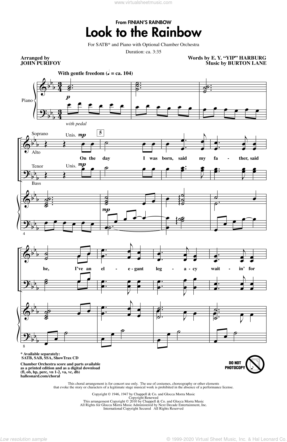 Look To The Rainbow (from Finian's Rainbow) sheet music for choir and piano (SATB) by Burton Lane, E.Y. Harburg and John Purifoy. Score Image Preview.
