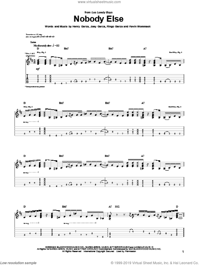 Nobody Else sheet music for guitar (tablature) by Ringo Garza