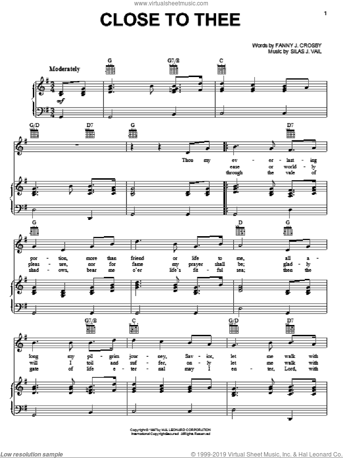 Close To Thee sheet music for voice, piano or guitar by Fanny J. Crosby and Silas J. Vail, intermediate skill level