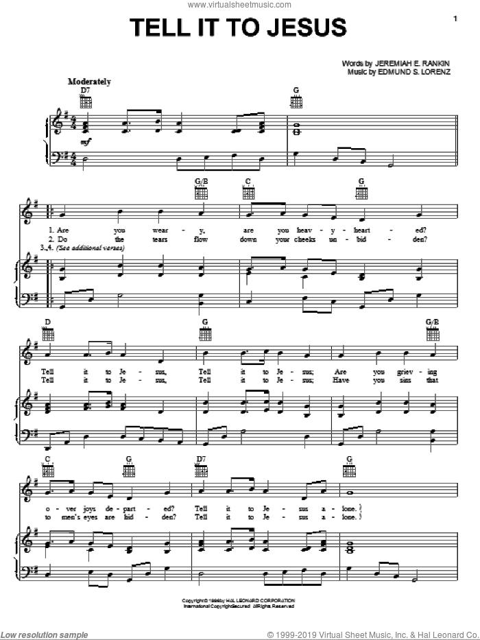 Tell It To Jesus sheet music for voice, piano or guitar by Edmund S. Lorenz