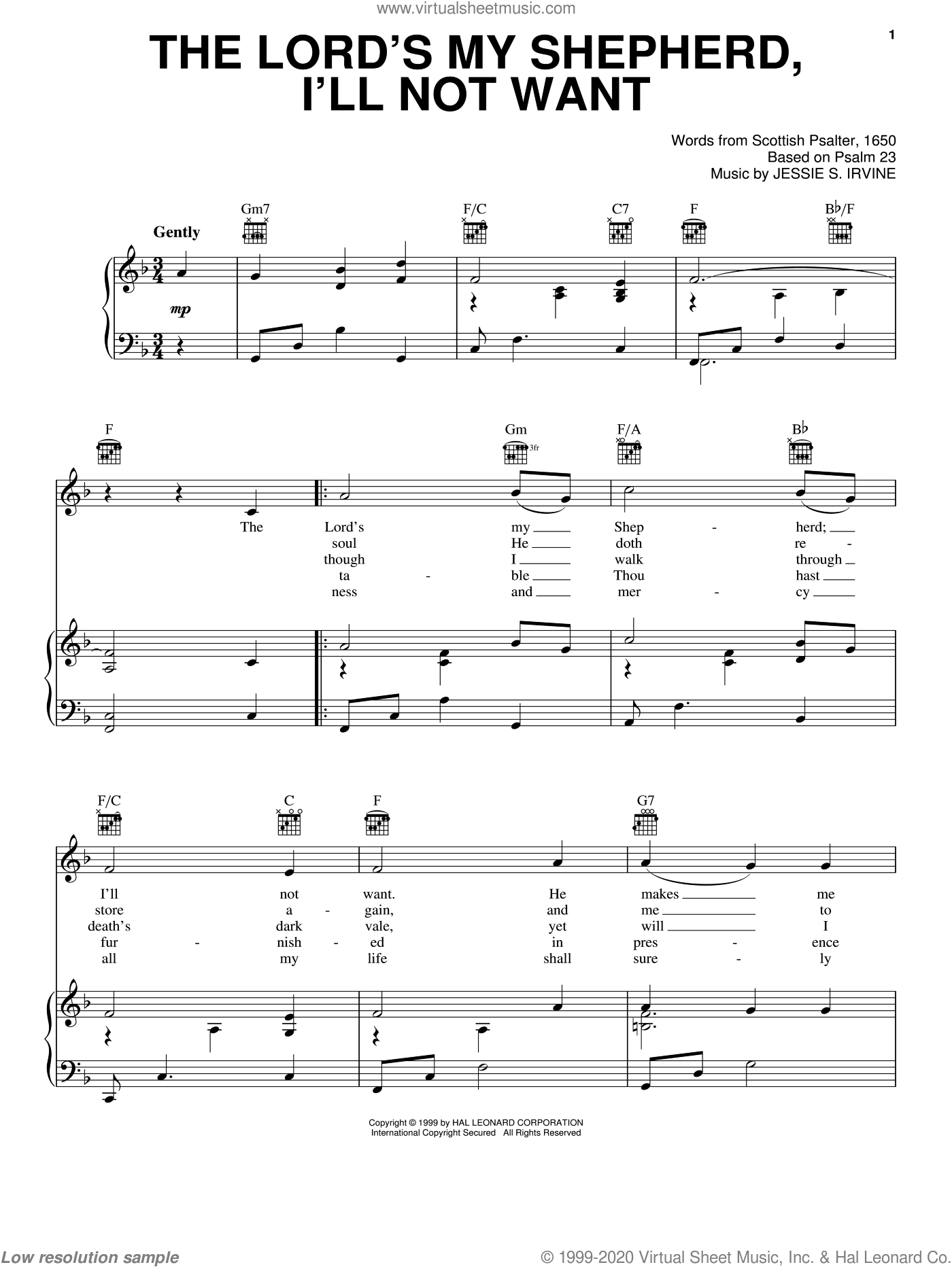 The Lord's My Shepherd, I'll Not Want sheet music for voice, piano or guitar by Jessie S. Irvine and Scottish Psalter, intermediate skill level