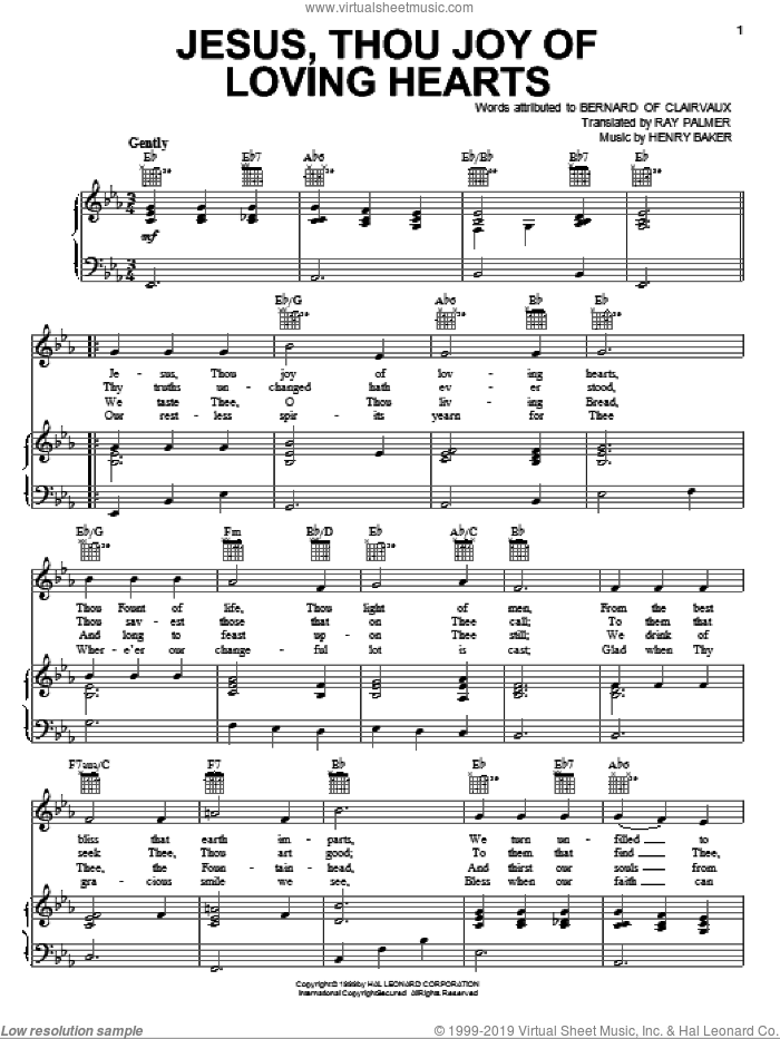 Jesus, Thou Joy Of Loving Hearts sheet music for voice, piano or guitar by Ray Palmer. Score Image Preview.