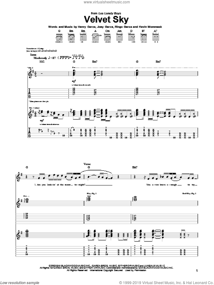 Velvet Sky sheet music for guitar (tablature) by Los Lonely Boys, intermediate. Score Image Preview.