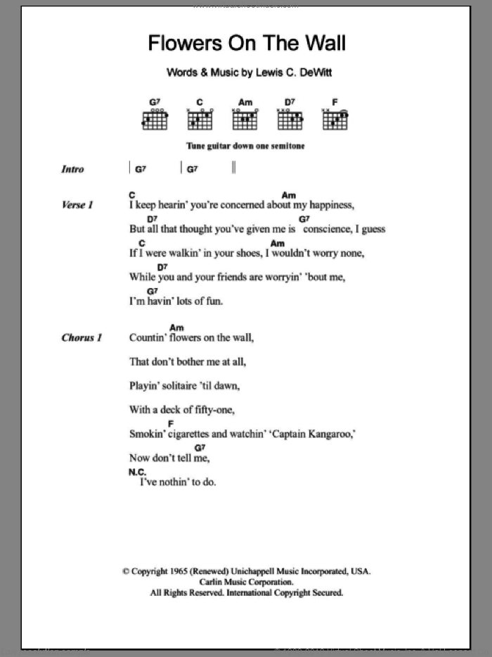 Flowers On The Wall sheet music for guitar (chords) by The Statler Brothers and Lewis C. Dewitt, intermediate guitar (chords). Score Image Preview.