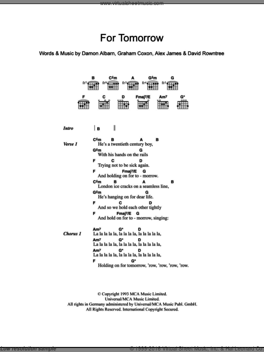 For Tomorrow sheet music for guitar (chords) by Graham Coxon