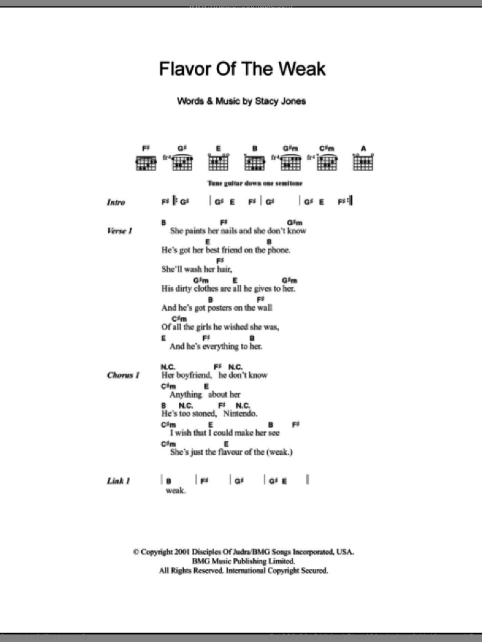 Flavor Of The Weak sheet music for guitar (chords, lyrics, melody) by Stacy Jones