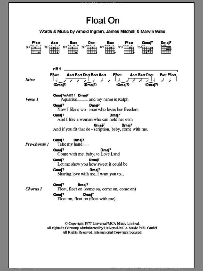 Float On sheet music for guitar (chords, lyrics, melody) by Marvin Willis