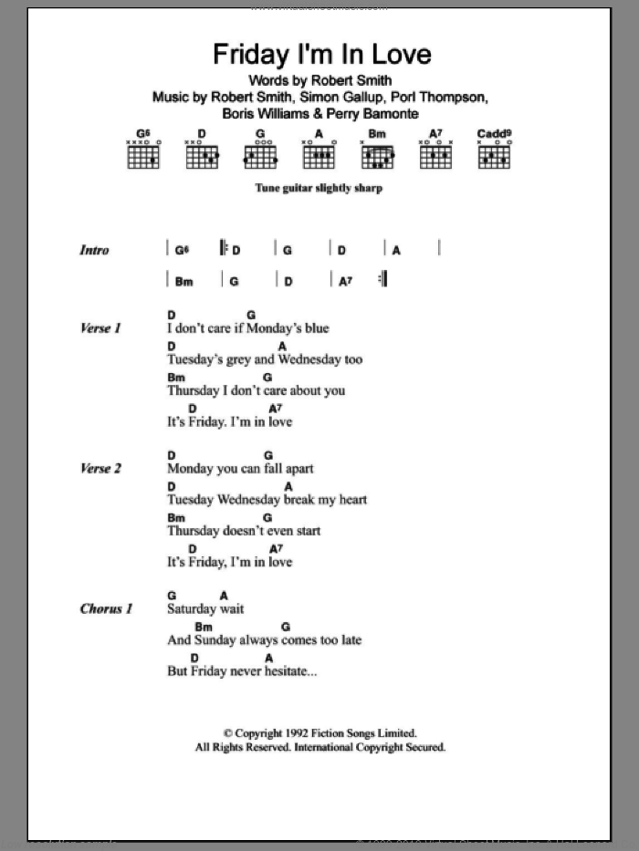 Friday I'm In Love sheet music for guitar (chords) by The Cure, Boris Williams, Perry Bamonte, Porl Thompson, Robert Smith and Simon Gallup, intermediate skill level