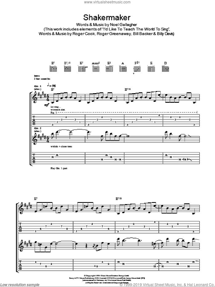 Shakermaker sheet music for guitar (tablature) by Oasis and Noel Gallagher, intermediate skill level