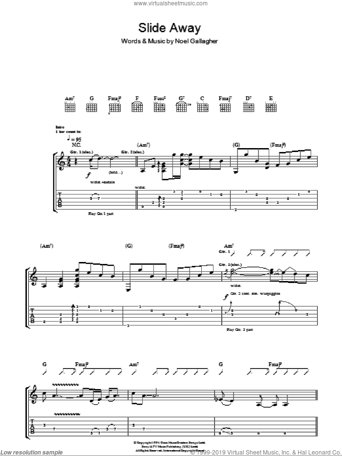 Slide Away sheet music for guitar (tablature) by Oasis and Noel Gallagher, intermediate guitar (tablature). Score Image Preview.